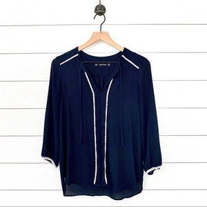 Zara navy blue long sleeve blouse